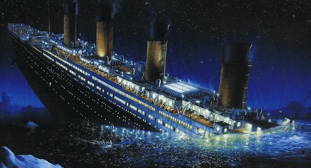 Photo du Titanic en train de couler dans l'Atlantique